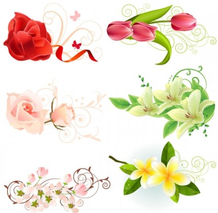 beautiful flowers vectors material