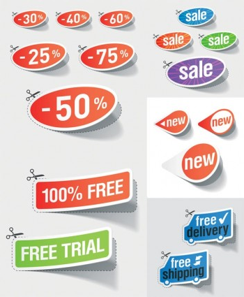 beautiful stickers discount sales vector design