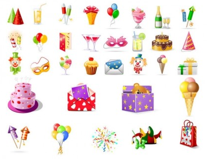 birthday theme icon vector