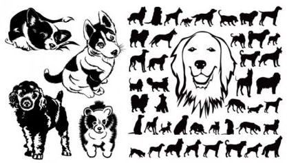 black and white dog silhouette vector graphics
