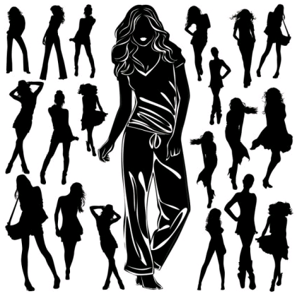 black and white silhouette 03 set vector