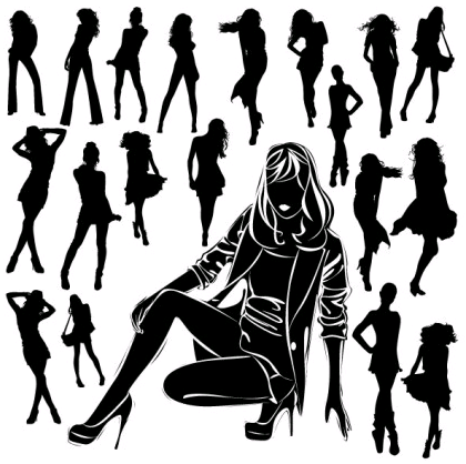black and white silhouette 04 vector