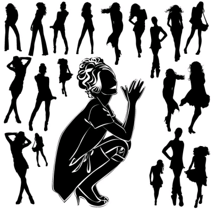 black and white silhouette 05 set vector