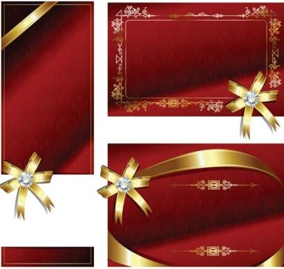bow ribbon card set vector
