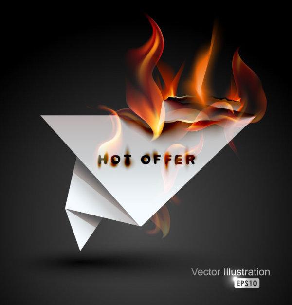 burning paper shiny vector