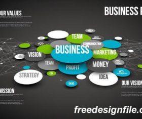 business newtwork dark 3d template vector