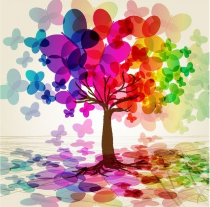 butterfly tree design vector