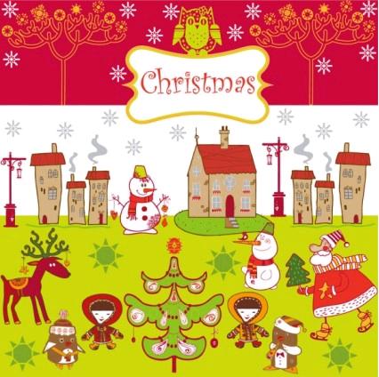 cartoon christmas background 01 shiny vector