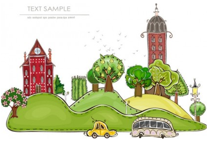 cartoon city building elements 1 vector graphic