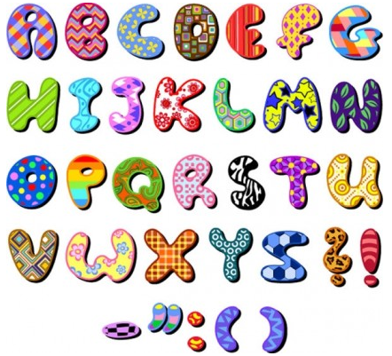 cartoon design series letters 04 vector design