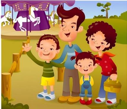 cartoon illustration family 8 vector