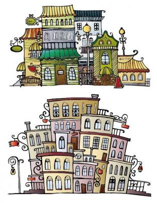 cartoon town house vector