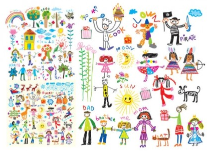 Cheerful children clip art illustrations vector