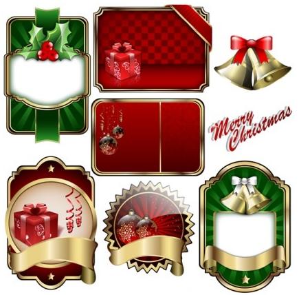 christmas badge shield label vectors
