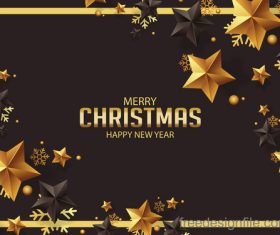 christmas greeting with gold stars and new year design vector
