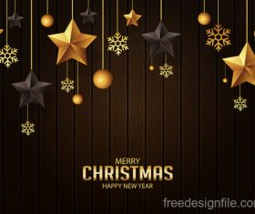 christmas greeting with gold stars and wood wall vector