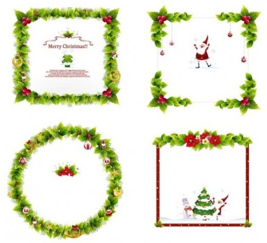 Christmas Wreath Silhouette Vector.Christmas Wreath Border Vector Graphics Free Download