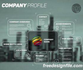city blue company profile lines template vector