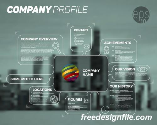 city blue company profile lines template vector