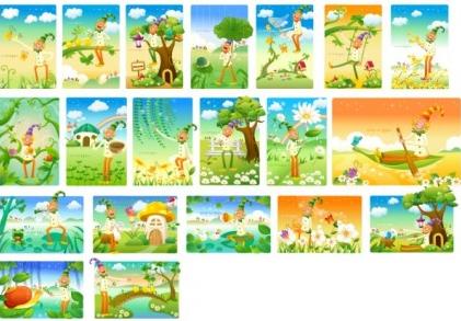 clown and landscape series vectors