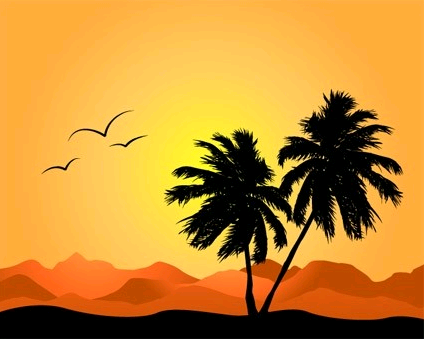 coconut trees and mountain silhouette vector