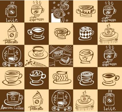 coffee theme shiny vector