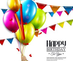 colored flag with balloons and birthday card vector