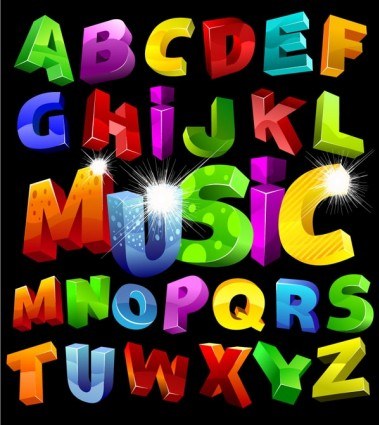 colorful threedimensional letters vector graphics