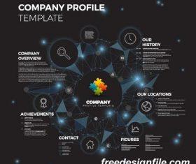 company profile kruh network dark blue template vector