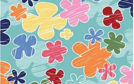 crayon flower pattern vector