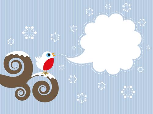 cute bird and text cloud vectors material