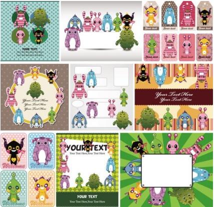 cute cartoon children illustrator 03 vector