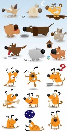 cute cartoon dog set vector