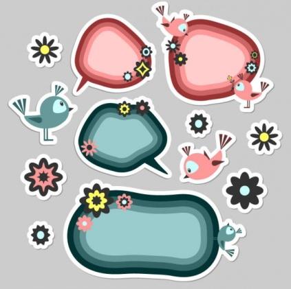 cute cartoon label 02 vectors