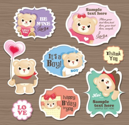 cute cartoon stickers 03 vector design