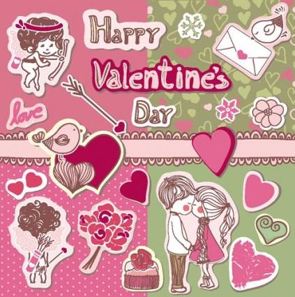 cute couple illustrator 02 vector material