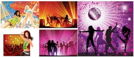 Disco music background set vector