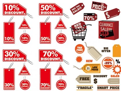 discount sales tag set vector