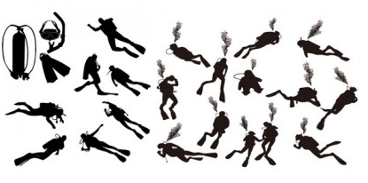 diver silhouette vector material