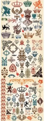 european classic pattern totem design vectors