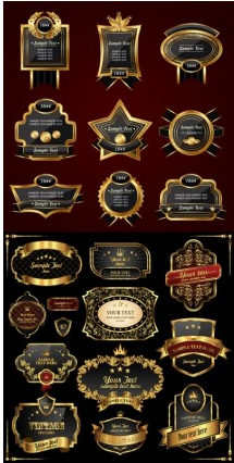 european gold label vectors graphic