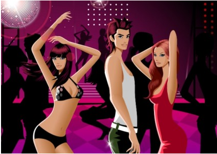 fashion dancing men and women vector