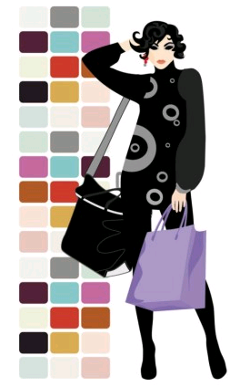 fashion shopping beauty silhouette 05 set vector