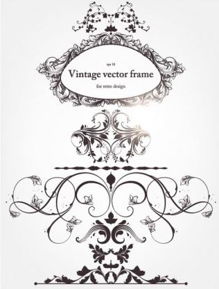 floral border and decorations 04 vector