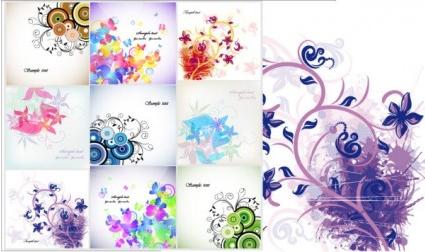 Floral cards flower vector background