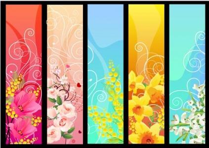flower banner 02 design vectors