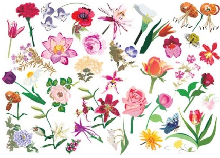 flower pattern style 02 vectors graphic