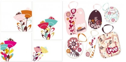 flower theme vector set