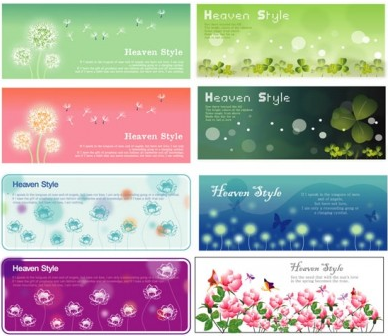 flowering plants banner vector material