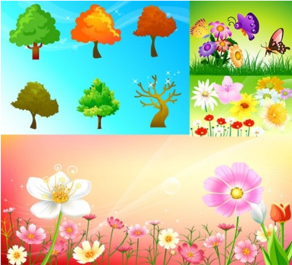 flowers and trees shiny vector